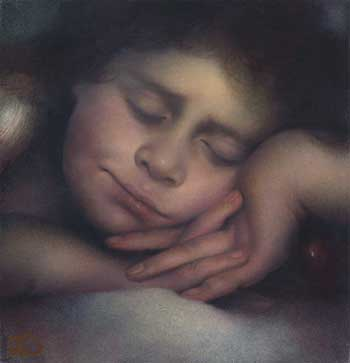 "Ольга Акаси - Спящий Ангел. 2004 г. (20 х 20, холст, масло.) / ""Sleeping Angel"", 2004, (20 x 20, oil on canvas)"